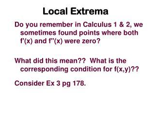 Local Extrema