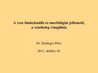 A vese funkcionális és morfológiai jellemzői,  a vesebeteg vizsgálata Dr. Studinger Péter