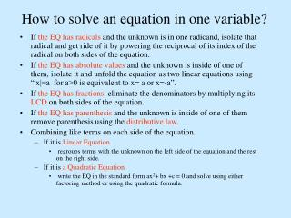 How to solve an equation in one variable?