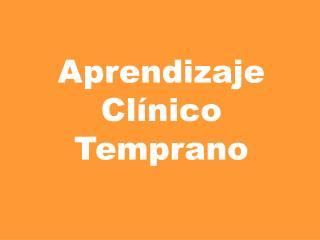 Aprendizaje  Clínico  Temprano