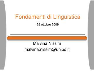 Fondamenti di Linguistica 26 ottobre 2009