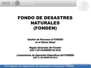 Gestión de Recursos al FONDEN en el Sector  Salud Reglas Generales del Fonden