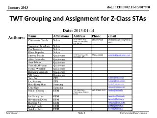 TWT Grouping and Assignment for Z-Class STAs