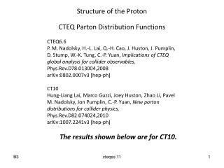 Structure of the Proton CTEQ Parton Distribution Functions CTEQ6.6