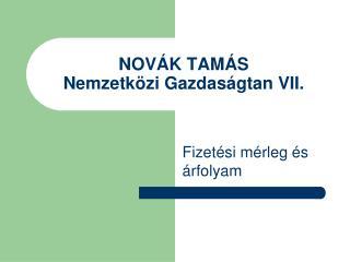 NOVÁK TAMÁS Nemzetközi Gazdaságtan VII.