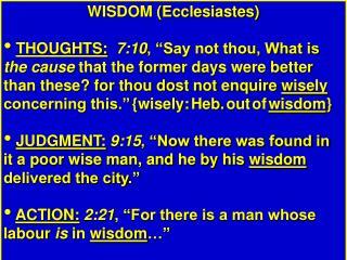 WISDOM (Ecclesiastes)