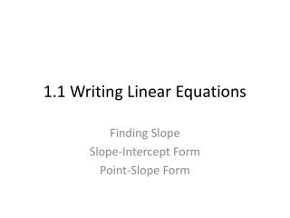 1.1 Writing Linear Equations