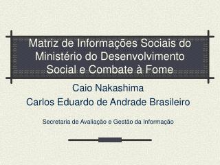 Matriz de Informações Socia i s do Ministério do Desenvolvimento Social e Combate à Fome