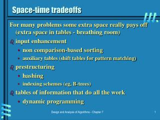 Space-time tradeoffs