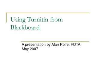 Using Turnitin from Blackboard
