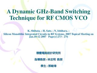 A Dynamic GHz-Band Switching Technique for RF CMOS VCO