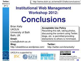 Institutional Web Management Workshop 2012: Conclusions
