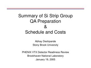 Summary of Si Strip Group  QA Preparation &  Schedule and Costs