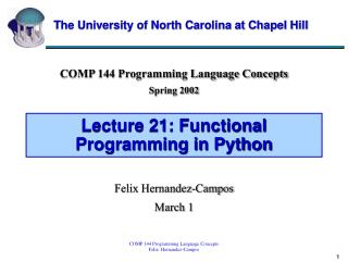 Lecture 21: Functional Programming in Python