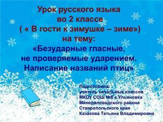Урок русского языка  во 2 классе  ( « В гости к зимушке – зиме») на тему: «Безударные гласные,
