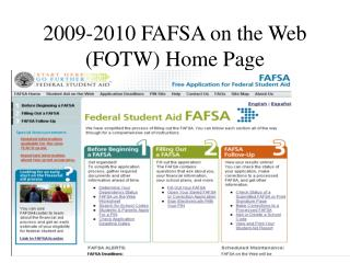 2009-2010 FAFSA on the Web (FOTW) Home Page