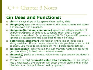 C++ Chapter 3 Notes