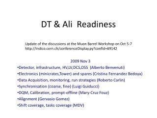 DT & Ali  Readiness