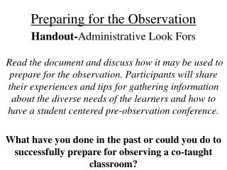 Preparing for the Observation Handout- Administrative Look Fors