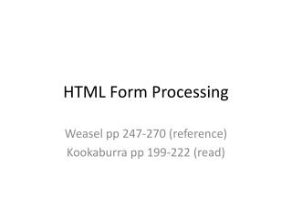 HTML Form Processing