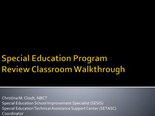 Special Education Program Review Classroom Walkthrough