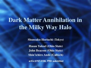Dark Matter Annihilation in the Milky Way Halo