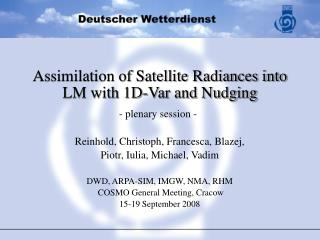 Assimilation of Satellite Radiances into LM with 1D-Var and Nudging