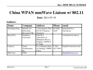 China WPAN mmWave Liaison w/ 802.11