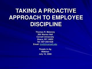 TAKING A PROACTIVE APPROACH TO EMPLOYEE DISCIPLINE