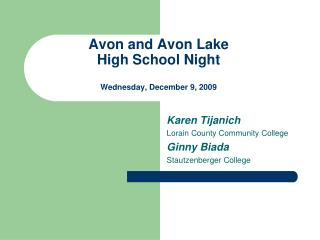 Avon and Avon Lake High School Night Wednesday, December 9, 2009