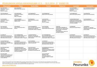 PEURUNGAN VAPAA-AIKAOHJELMA 12.5. – 18.5.2014  //  VIIKKO 20
