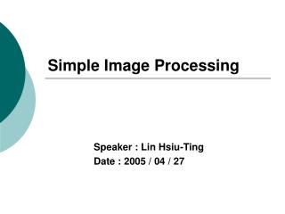 Simple Image Processing