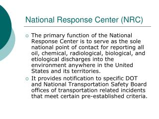 National Response Center (NRC)