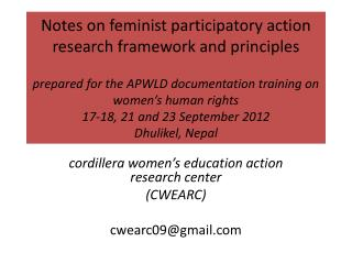cordillera women's education action research  center (CWEARC) cwearc09@gmail
