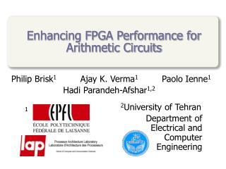 Enhancing FPGA Performance for Arithmetic Circuits