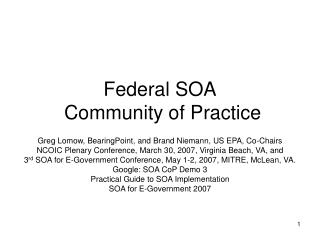 Federal SOA  Community of Practice