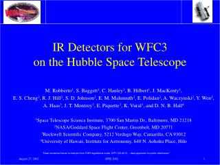 IR Detectors for WFC3  on the Hubble Space Telescope