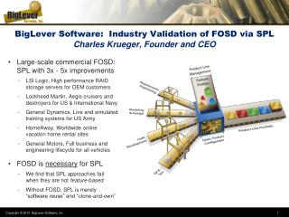 BigLever Software:  Industry Validation of FOSD via SPL Charles Krueger, Founder and CEO