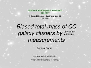 Biased total mass of CC galaxy clusters by SZE measurements