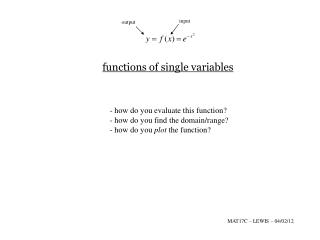 functions  of single variables