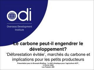 Présentation pour le Brussels Briefing : 'Le défi climatique pour l'agriculture ACP',