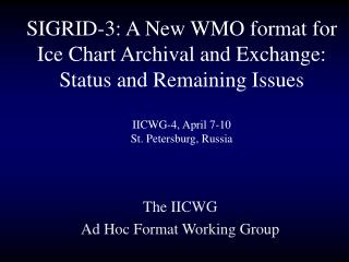 The IICWG  Ad Hoc Format Working Group