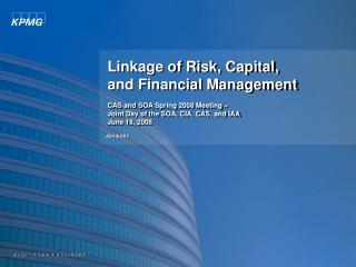 Linkage of Risk, Capital,  and Financial Management  CAS and SOA Spring 2008 Meeting    Joint Day of the SOA, CIA, CAS,
