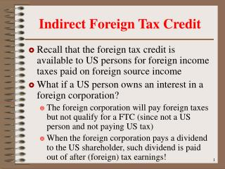 Indirect Foreign Tax Credit