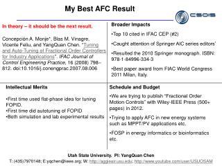 My Best AFC Result