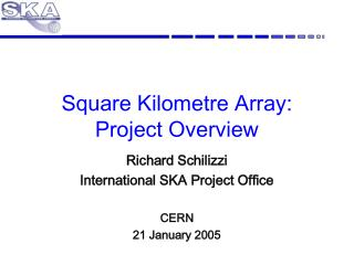 Square Kilometre Array:  Project Overview