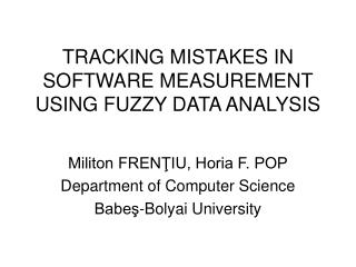 TRACKING MISTAKES IN SOFTWARE MEASUREMENT USING FUZZY DATA ANALYSIS