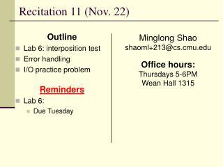 Recitation 11 (Nov. 22)