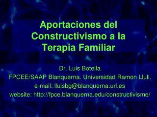 Aportaciones del Constructivismo a la Terapia Familiar