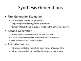 Synthesis Generations